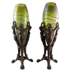 Palme König Pair of Art Nouveau Vases of Irritated and Frosted Green Glass