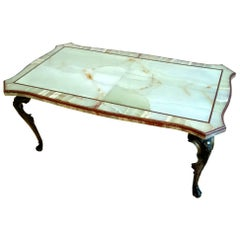 1950s Italian Onyx and Porphyry Coffee Table with Bronze Cast Base