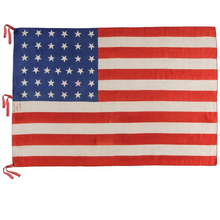 37 Stars on a Large-Scale Silk Parade Flag with Hand-Inscribed Mourning Notation