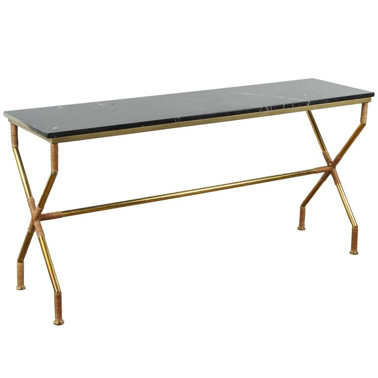 Brass and Raffia Console with Marble Top 1