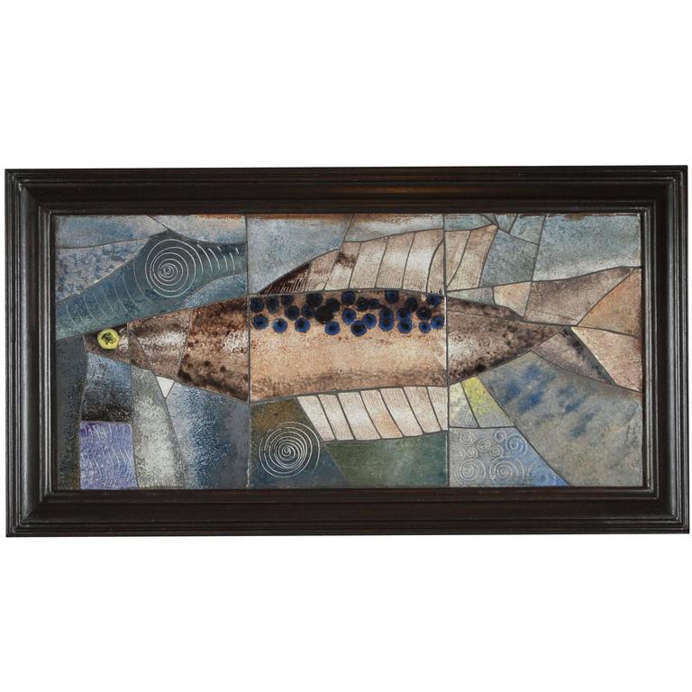 Mid-Century Framed Fish Tile For Sale