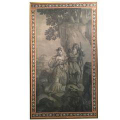 Framed 19th French Grisaille Cupid & Psyche Wallpaper Panel with borders