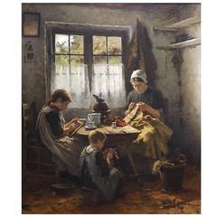 'Homework' Original Oil by Johannes Weiland