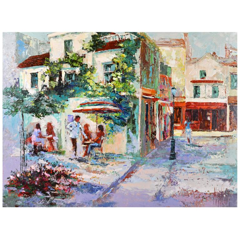 'The French Village Cafe' Large Impressionist Work by Mark King For Sale