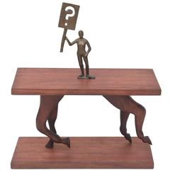 "One of a Kind Signed Bronze on Wood Sculpture Entitled ""Ask a Question"""