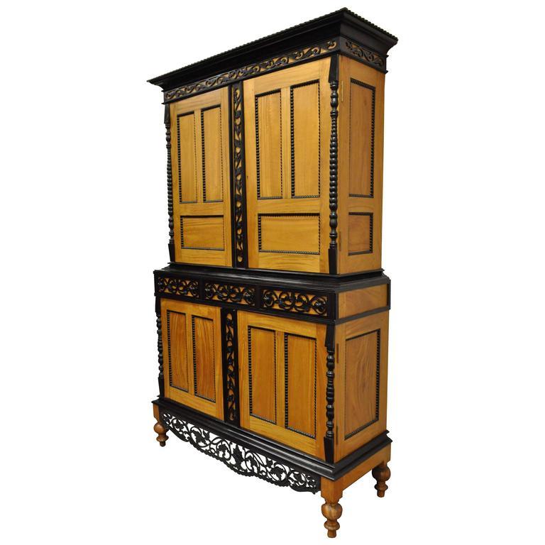 Indo Dutch Portuguese Colonial Style Cupboard Cabinet Satinwood Ebony Mahogany