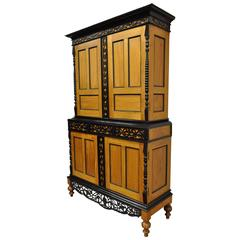 Indo Dutch Portuguese Colonial Style Cupboard Cabinet Satinwood Ebony Mahogany