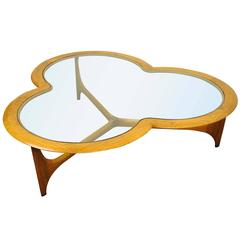 Vintage Lane Three Leaf Clover Mid-Century Modern Coffee Table Kagan Style