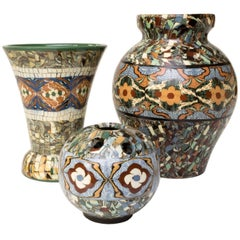 Group of Three French Vallauris Clay Mosaic Vase by Ceramicist Jean Gerbino