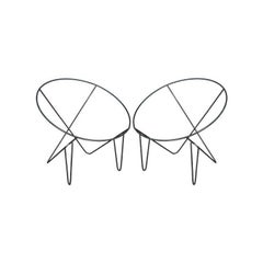 Pair of Wire Metal Frame Basket Chairs