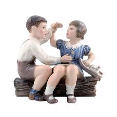 Rare Dahl Jensen Figurine No. 1214, Girl and Boy with Ship