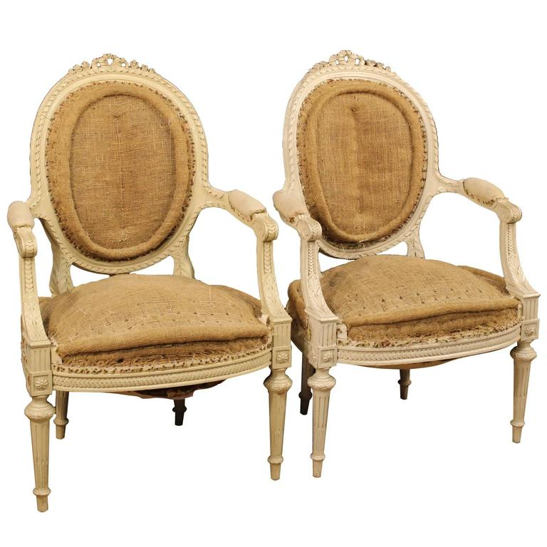 20th century pair of french armchairs in louis xvi style for French furniture designers 20th century