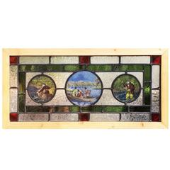 Reframed English Stained, Leaded, Jeweled and Painted, Cottage Window