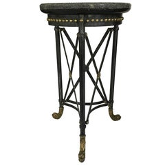 Handsome Neoclassic Marble and Iron Side Table