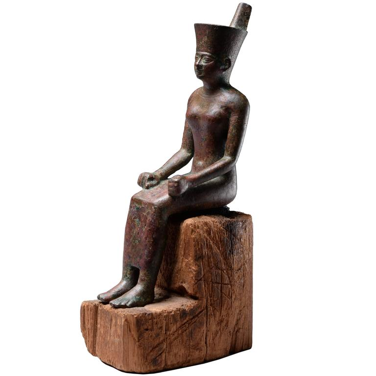 Ancient Egyptian Bronze Figure of the Goddess Neith, 600 BC