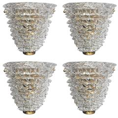 Set of Four Murano Rostrato Sconces by Barovier e Toso