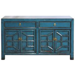 Blue Sideboard With Decorative Doors