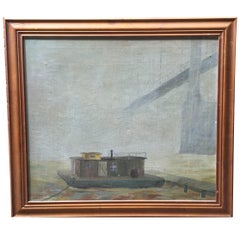 Ashcan Style River Boat Painting