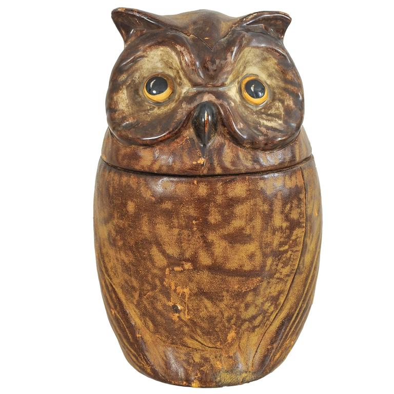 French Ceramic And Leather Owl Cookie Jar At 1stdibs