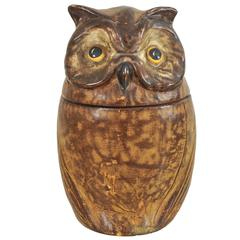 French Ceramic and Leather Owl Cookie Jar