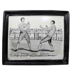 Spring and Langan Pugilist Commemorative Pottery Plaque