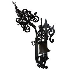 Spanish Revival Hand-Wrought Iron Garden Gate Bell
