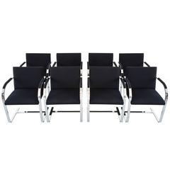 Set of Eight Brueton Flat Bar Chairs