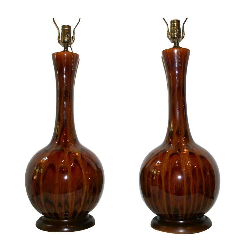 Pair of Large Glazed Ceramic Lamps