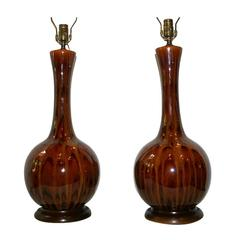 Pair of Large Glazed Ceramic Lamps