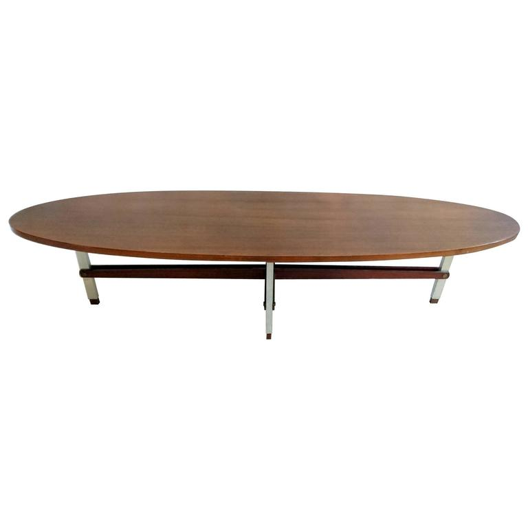 Italian oval teak coffee table at 1stdibs for Oval teak coffee table