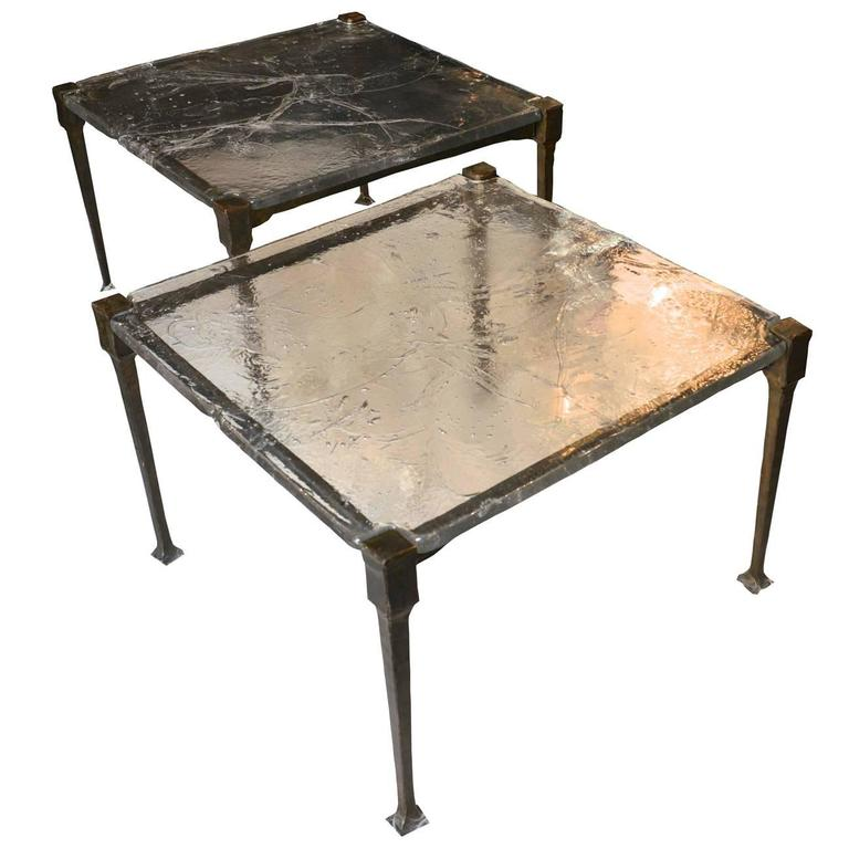 Pair of sofa tables in wrought iron with glass top france for Metal console tables glass top