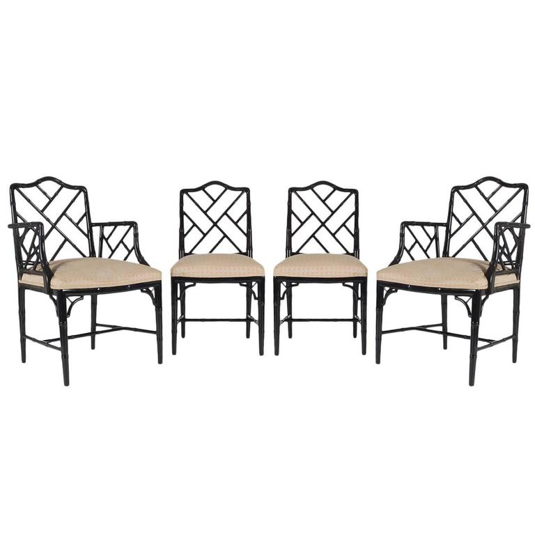 Set of Four Black Lacquered Faux Bamboo Chinese Chippendale Style Chairs