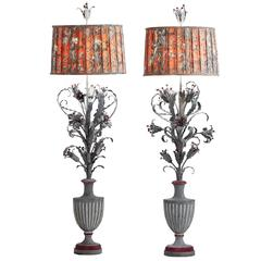 Pair of French Tole and Cast Iron Floor Lamps, circa 1900
