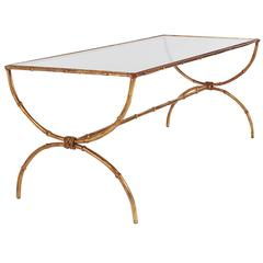 Hollywood Regency Gold Gilt Italian Brass and Glass Faux Bamboo Cocktail Table