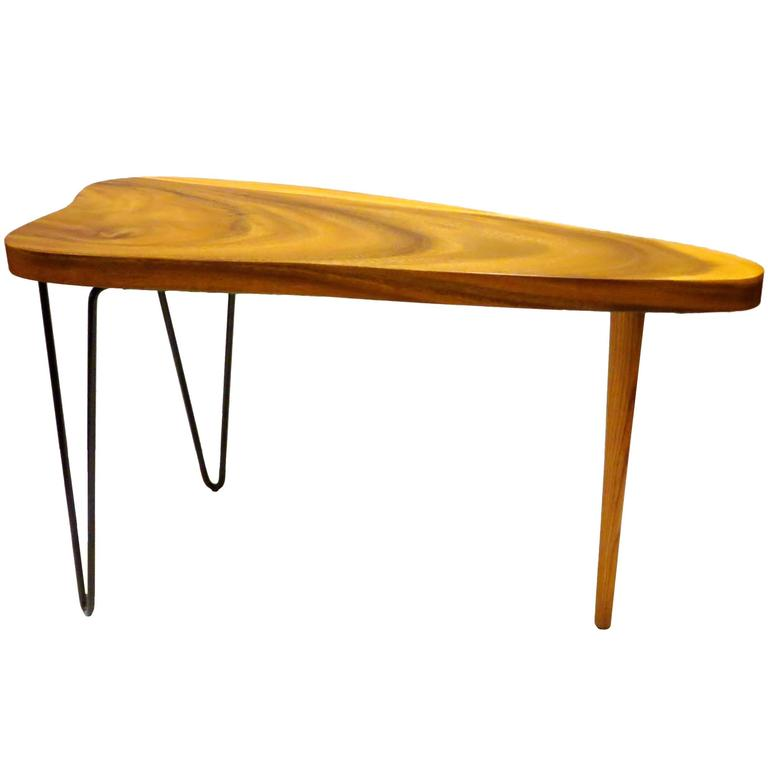 Free Form Organic Small Coffee Or Cocktail Table Koa Wood Top And Hairpin  Legs 1