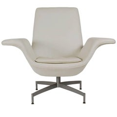 Mid-Century Modern Dialogue HBF Swivel Lounge Chair in White Leather