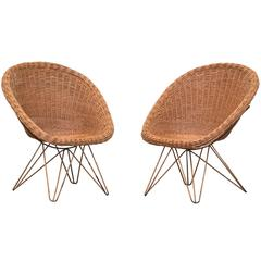 Pair of Jacques Adnet Style Bamboo Chairs in Mauve