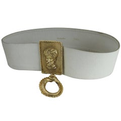 Christian Dior Leather Belt with Gold-Tone Sultan in Turban and Rams Head Buckle