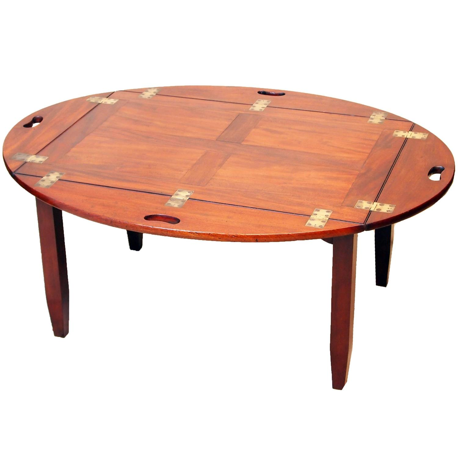 Vintage Butler Coffee Table: Antique Georgian Oval Butlers Tray On Stand At 1stdibs