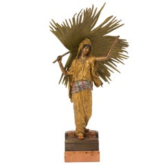 "Vienna Bronze Sculpture ""Palm Leaf Dancer"" by Franz Xaver Bergman"
