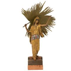 """Vienna Bronze Sculpture """"Palm Leaf Dancer"""" by Franz Xaver Bergman"""