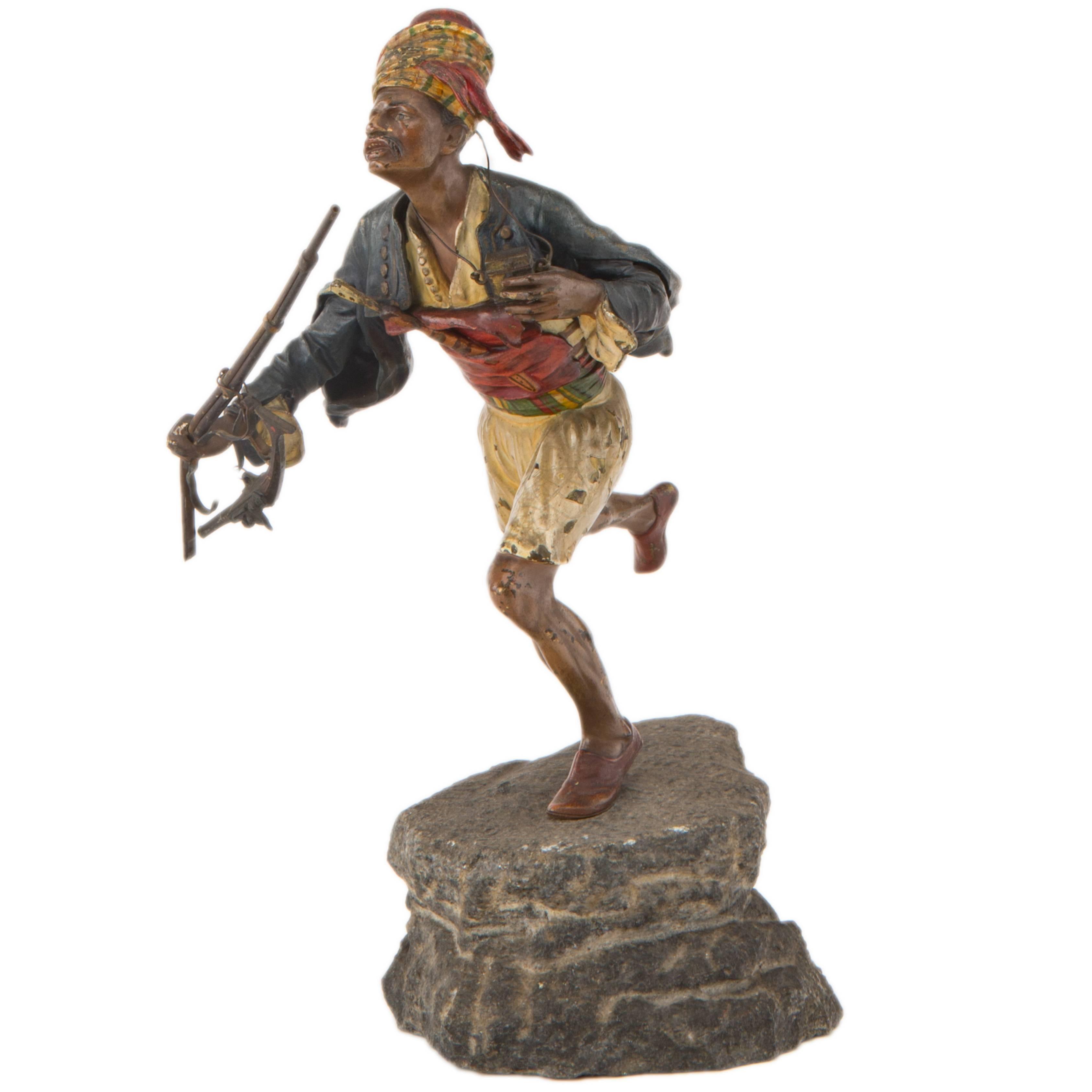 Vienna Bronze Sculpture of a Running Arabian Soldier by Franz Xavier Bergman