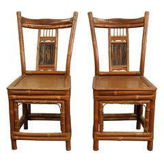 Pair of Antique Chinese Bamboo Child's Chairs