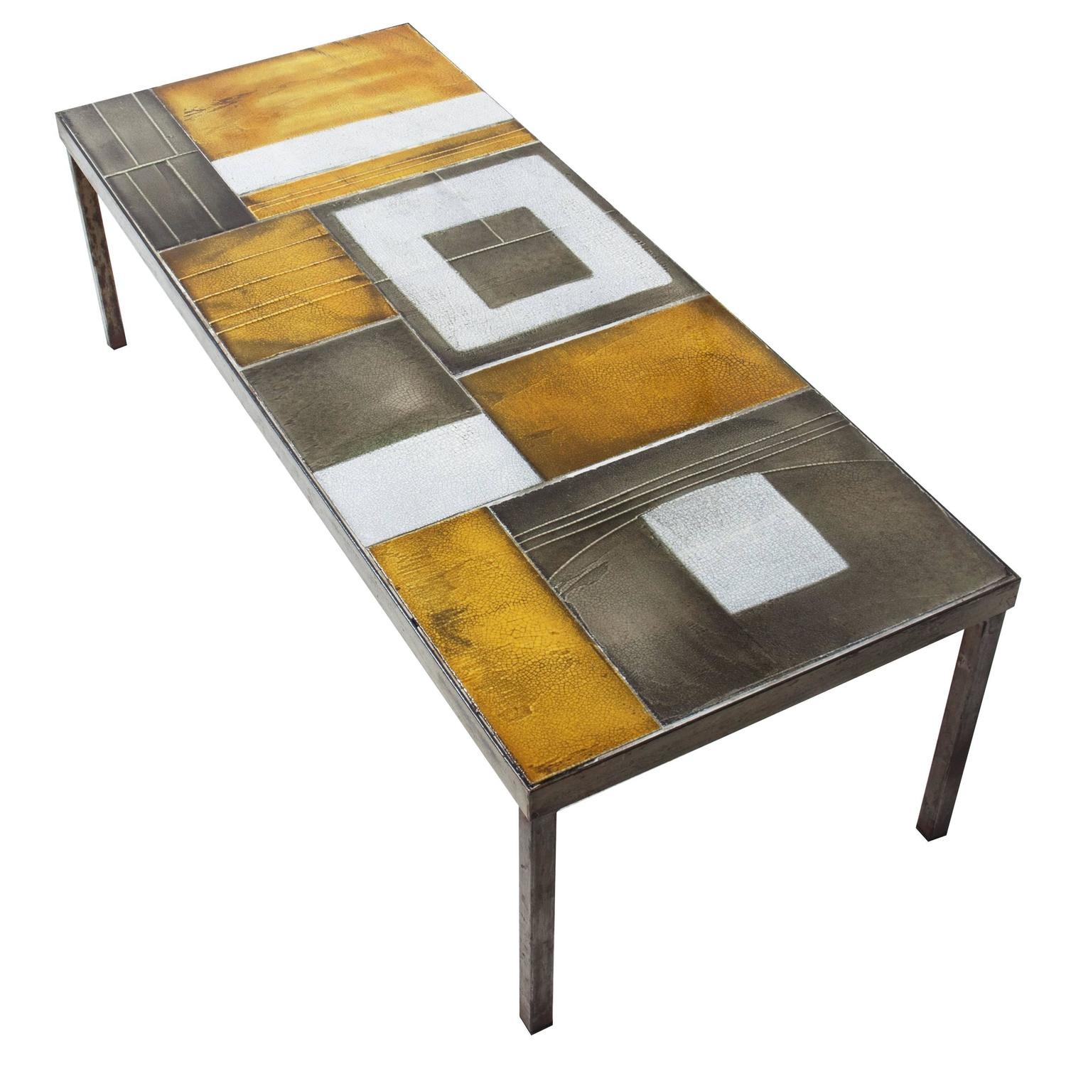 roger capron ceramic coffee table 1960s at 1stdibs. Black Bedroom Furniture Sets. Home Design Ideas