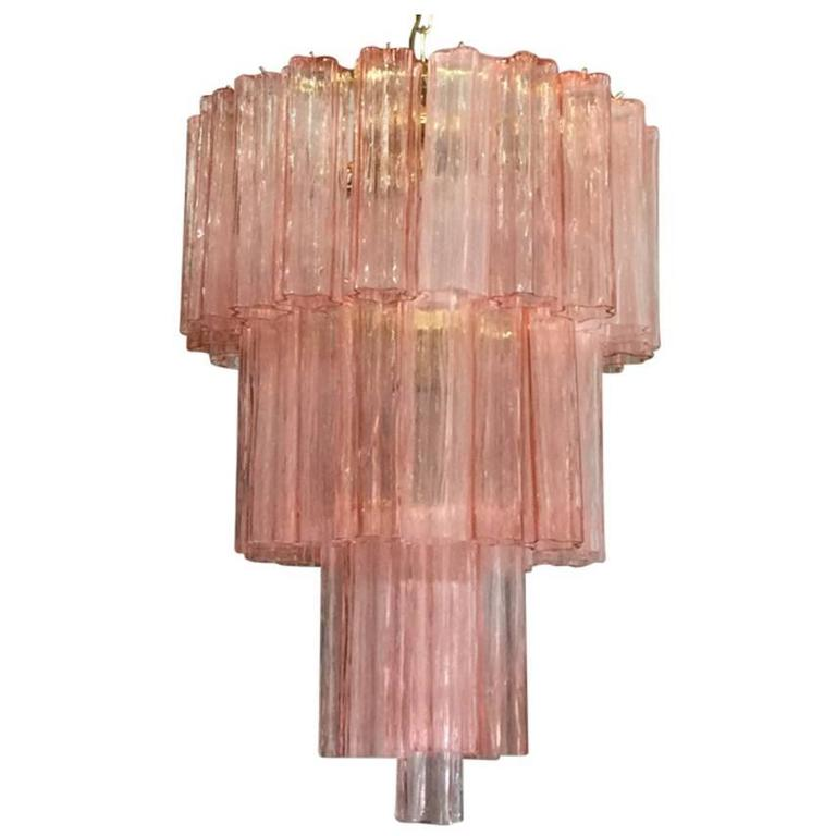Pink Glass Chandelier Italian murano pink tronchi glass chandelier by venini at 1stdibs italian murano pink tronchi glass chandelier by venini for sale audiocablefo