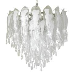 Italian Murano White Stalatitti Glass Chandelier in the style of Mazzega