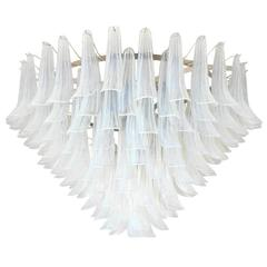 "Italian Murano Opaline ""Selle"" Glass Chandelier by Mazzega"