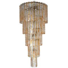 Italian Murano Glass Planks Chandelier by Mazzega
