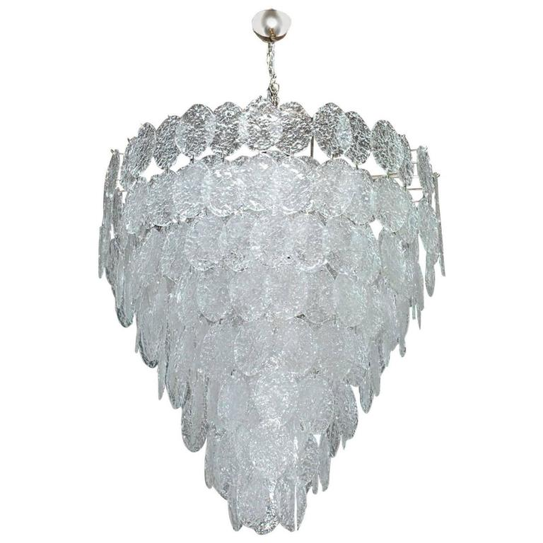 Italian Murano Oval Glass Discs Chandelier by Vistosi