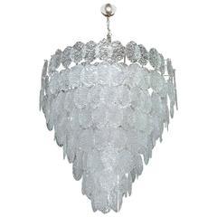 Italian Murano Oval Glass Discs Chandelier by Vistosi